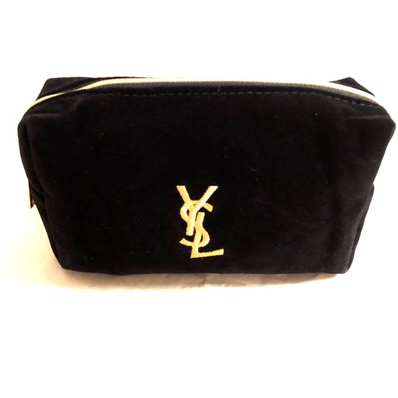 3fbb94fbaa YVES SAINT LAURENT black logo velvet cosmetic bag Boutique